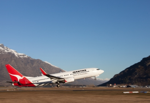 Qantas taking off from Queenstown Airport